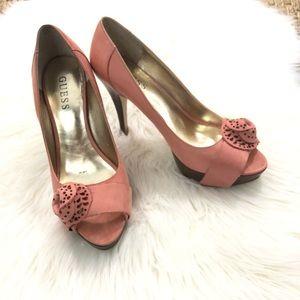 "Pink Guess peep toe rose platform 4.5"" heels 7.5"